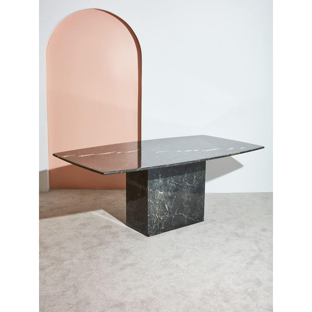 1970s Black Marble Dining Table For Sale - Image 4 of 4