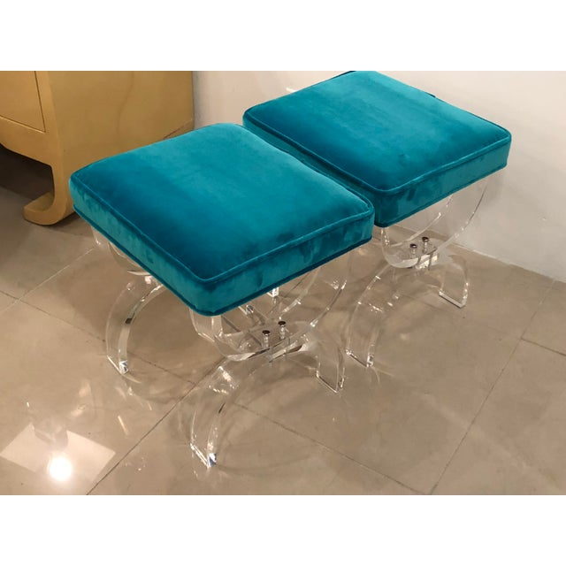 Vintage Hollywood Regency Blue Velvet Lucite X Benches Stools -A Pair For Sale - Image 13 of 13