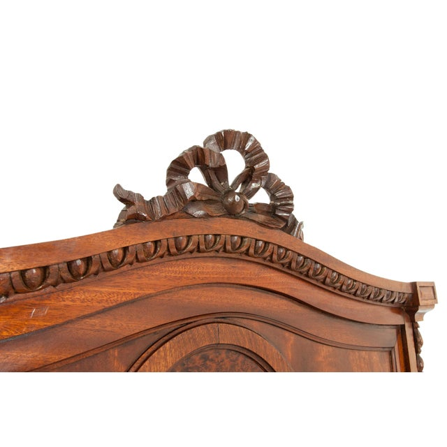 French Hand Carved Walnut / Burl Walnut Single Beds - a Pair For Sale - Image 4 of 9