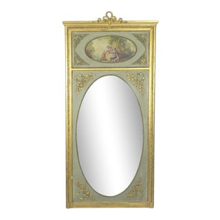 Antique French Sage Green & Gilt Hand Painted Trumeau Mirror