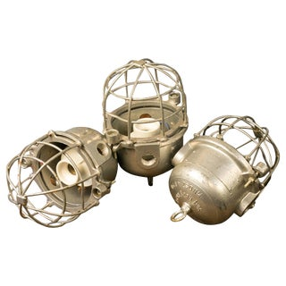 Industrial Unwired Heavy Aluminum Factory Cage Pendants - Set of 3