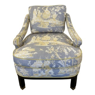 Gray and Yellow Slipper Chair For Sale