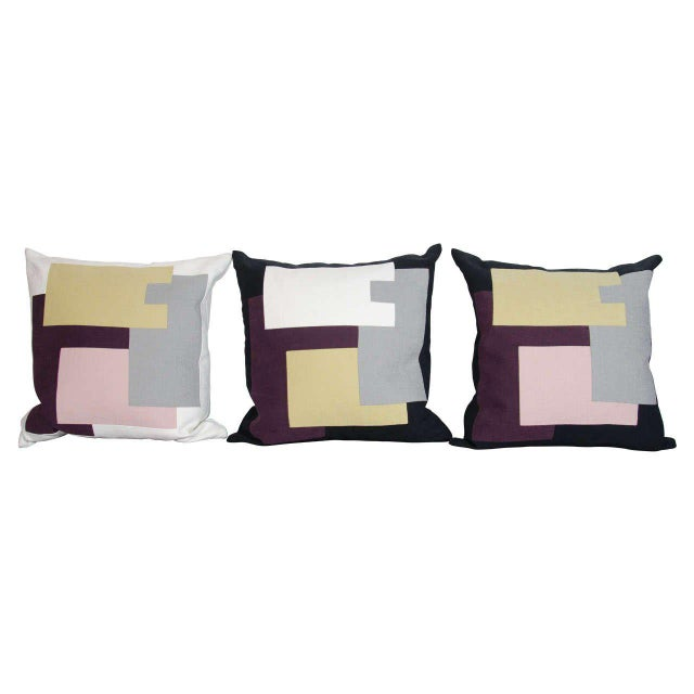 Cotton Architectural Italian Linen Throw Pillows by Arguello Casa For Sale - Image 7 of 9