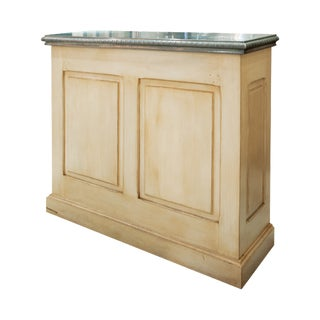Vintage Wood and Pewter-Topped Bar For Sale
