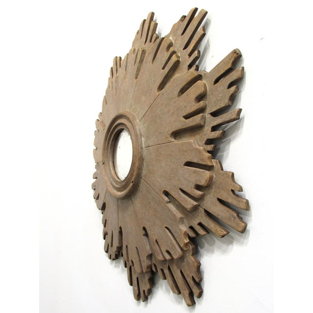 Carved Wood Sunburst Mirror - Image 4 of 7