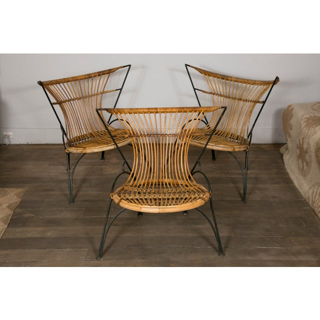 Set of 3 Metal and Wicker Slipper Chairs For Sale - Image 11 of 11