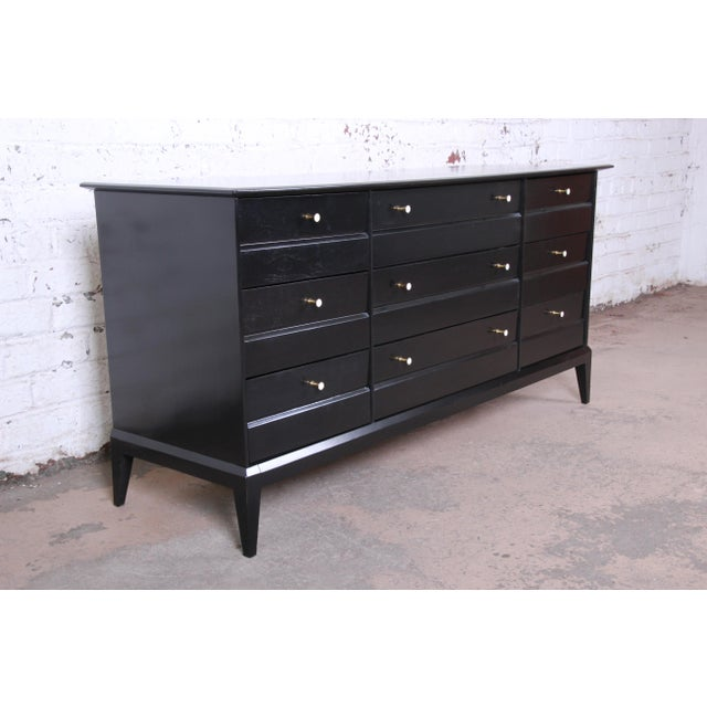 1950s Paul McCobb Style Ebonized Triple Dresser or Credenza by Heywood Wakefield For Sale - Image 5 of 13