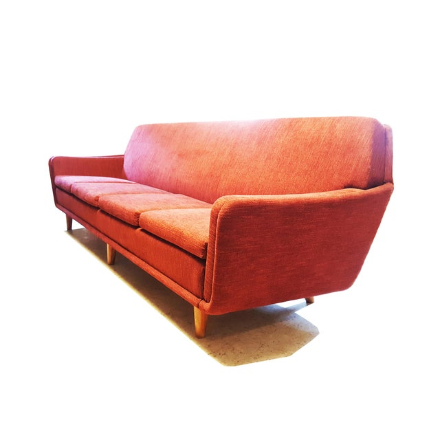 Danish Modern Large Swedish Mid-Century Modern/Space Age Folke Ohlsson for Dux Red Sofa/Couch For Sale - Image 3 of 8