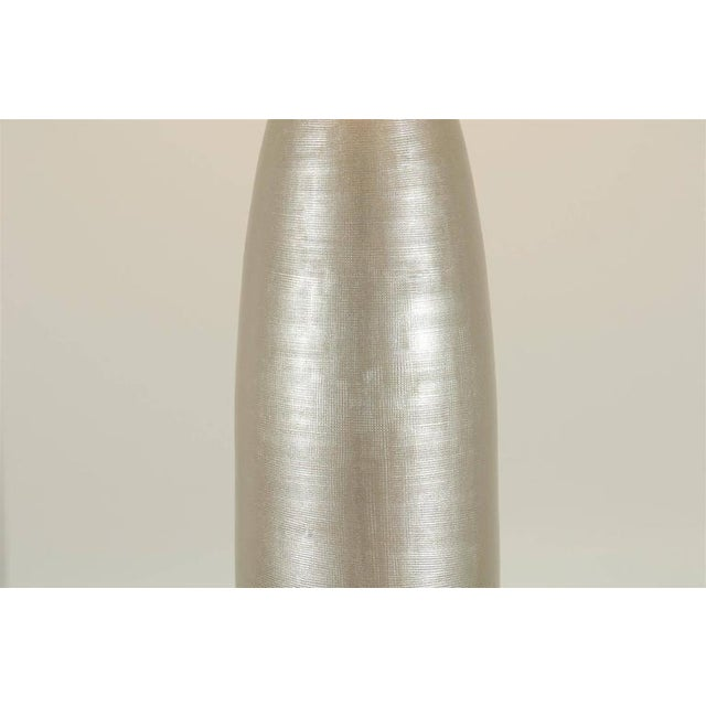 White Chic Pair of Alloy Colored Textured Blown Glass Lamps For Sale - Image 8 of 10