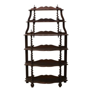 19th Century Victorian Mahogany Barley Twist Etagere For Sale