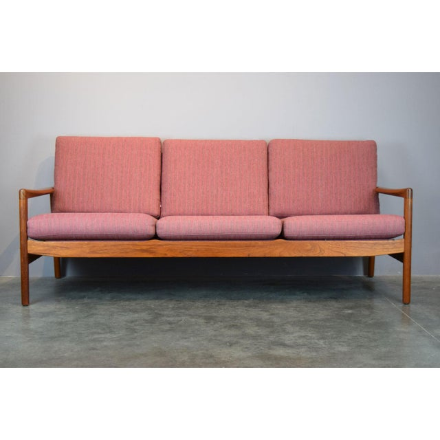 Hans Olsen for Juul Kristensen Teak Framed Wool Sofa | Chairish