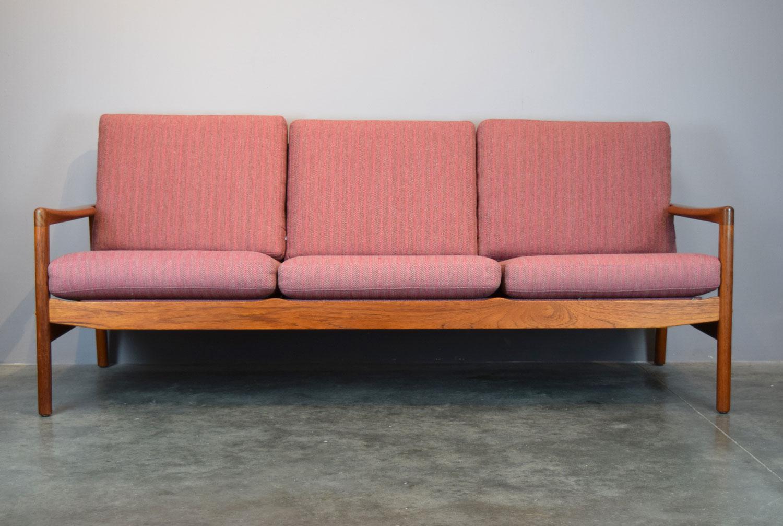 Hans Olsen For Juul Kristensen Teak Framed Wool Sofa   Image 2 Of 11