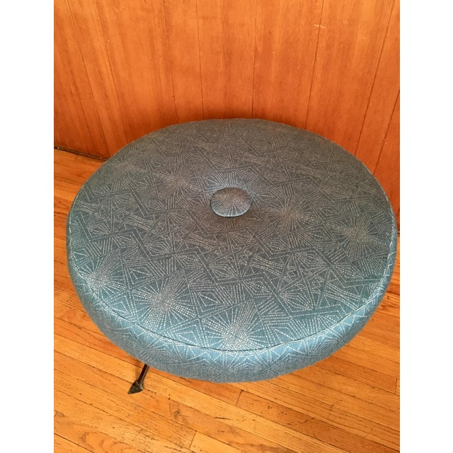 Plush Round Ottoman on Iron Base - Image 4 of 6