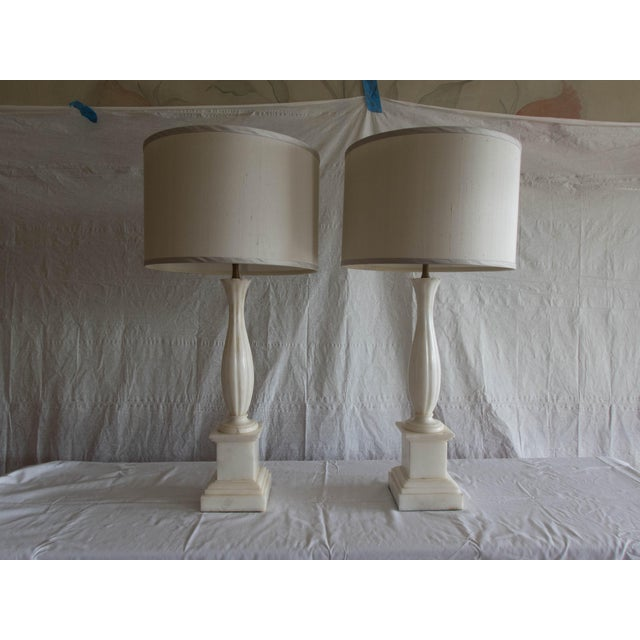 """Antique Sensual Pure Alabaster Lamps (Pr.) Tall Elegant Fine-Fluting 33""""H Including Gray Shades (new) Excellent. Shades..."""