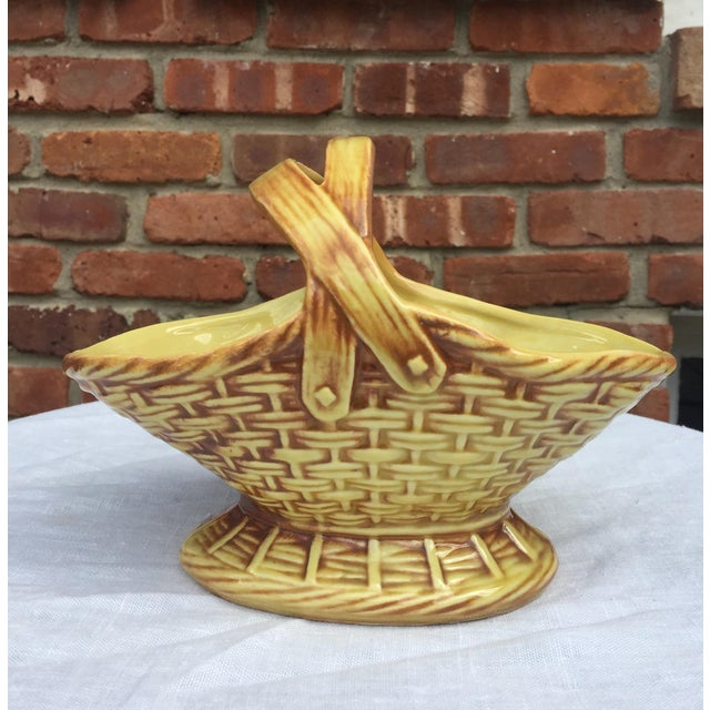 Modern Vintage McCoy Pottery Handled Basket For Sale - Image 3 of 5