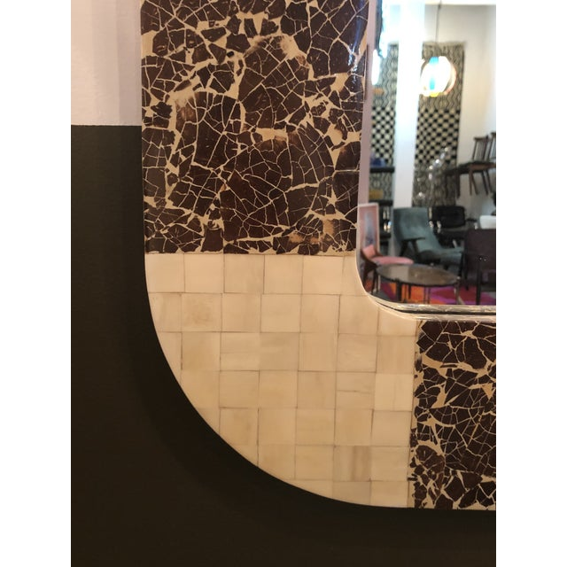 1980s Enrique Garcel Tessellated Bone and Coconut Shell Oversized Wall Mirror For Sale - Image 5 of 9