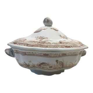 1913 Furnivals Quail Brown and White Bowl and Lid For Sale