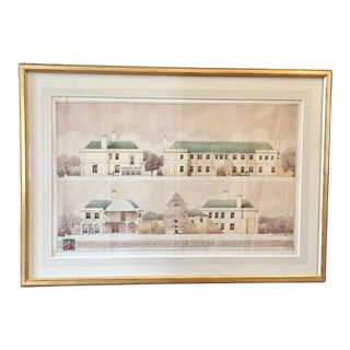 1929 Original Restoration of an English Castle Architectural Drawing For Sale