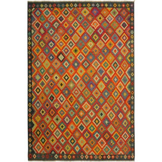 Shon Blue/Orange Hand-Woven Kilim Wool Rug -8'5 X 9'8 For Sale
