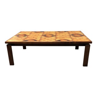 Danish Mid-Century Modern Tiled Walnut Coffee Table