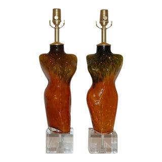 Venus Murano Glass Table Lamps Apricot Orange Ocher For Sale