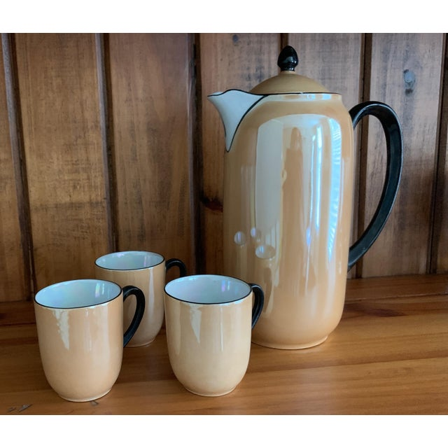 Art Deco Vintage Lusterware Coffee Pot With Tea Cup Set- 4 Pieces For Sale - Image 3 of 6