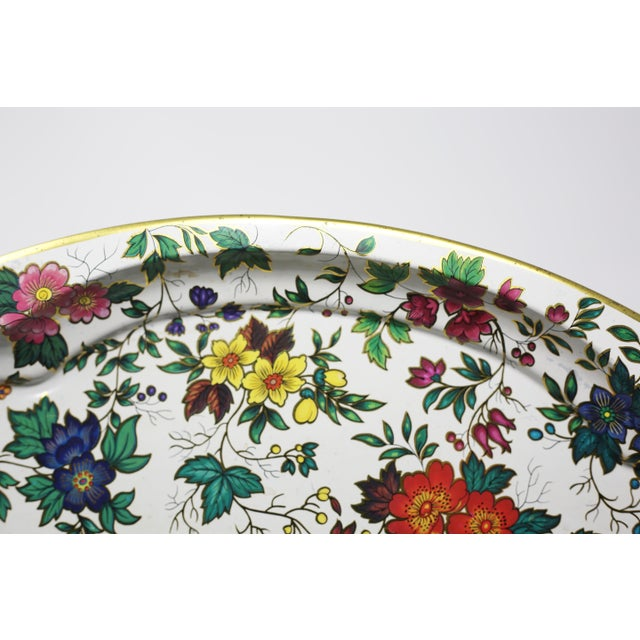 Vintage Chintz Floral Metal Tray by Daher For Sale - Image 4 of 11