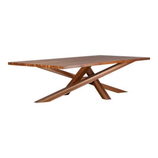 Modern Solid Teak Cross Dining Table For Sale