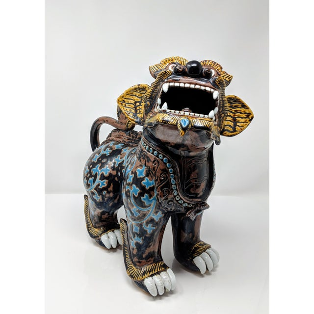Early 21st Century Ceramic Painted Imperial Guardian Lion and Foo Dragon For Sale - Image 5 of 13