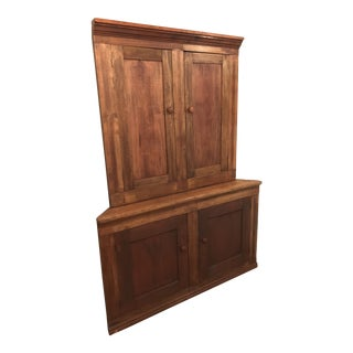 19th Century Primitive Virginia 2-Pc Corner Cabinet For Sale