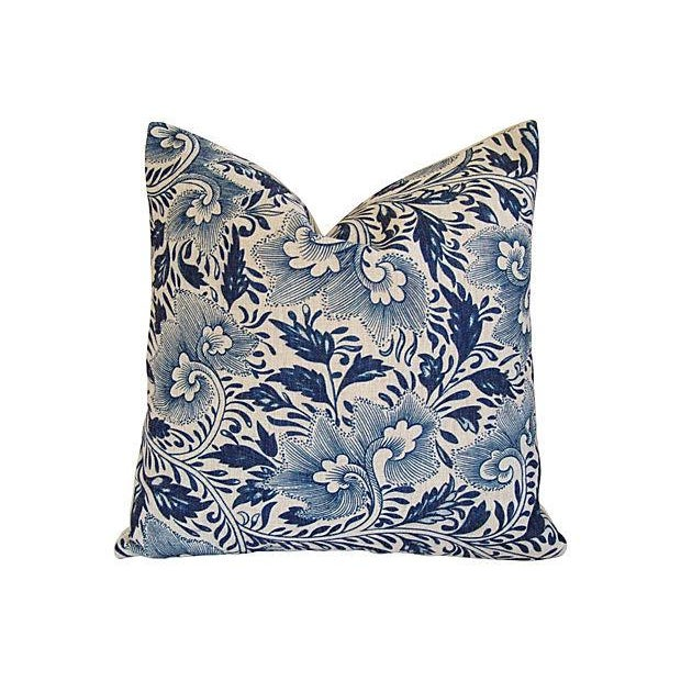 Blue Floral Linen Down/Feather Pillows - A Pair - Image 2 of 7