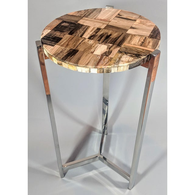 Organic Modern Petrified Wood and Chrome Side Table For Sale - Image 12 of 13