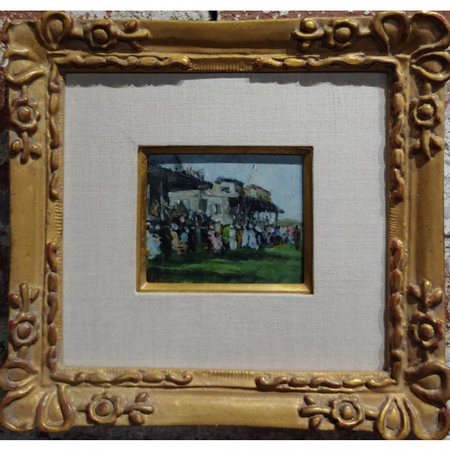 """Gabriel Spat -An Evening at the Race Track -1920s French Oil painting oil painting on canvas -Signed frame size 12 x 12""""..."""