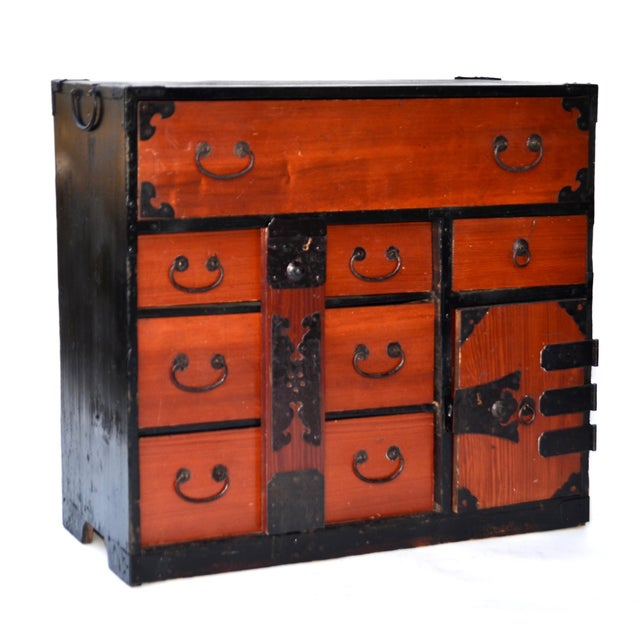Antique Japanese Lacquered Small Tansu Chest - Image 2 of 6