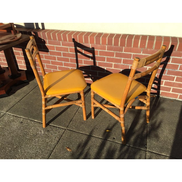 Pair Bamboo Side Chairs Mid Century For Sale In San Francisco - Image 6 of 7