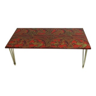 Red Lacquered Linen and Gold Coffee Table Italian C1950 For Sale
