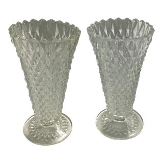 Vintage Diamond Cut Lead Crystal Vases - A Pair For Sale