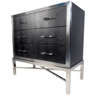 Contemporary Modern Chrome and Faux Snakeskin Chest of Drawers For Sale