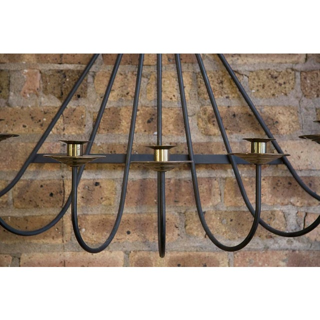 Mid Century Iron and Brass Wall Sconce For Sale - Image 4 of 5