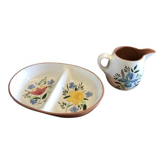 1950s Stangl Pottery Country Garden Pitcher & Dish - a Pair For Sale