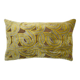 FirmaMenta Italian Geometric Brown & Yellow Mustard Damask Velvet Lumbar Pillow For Sale