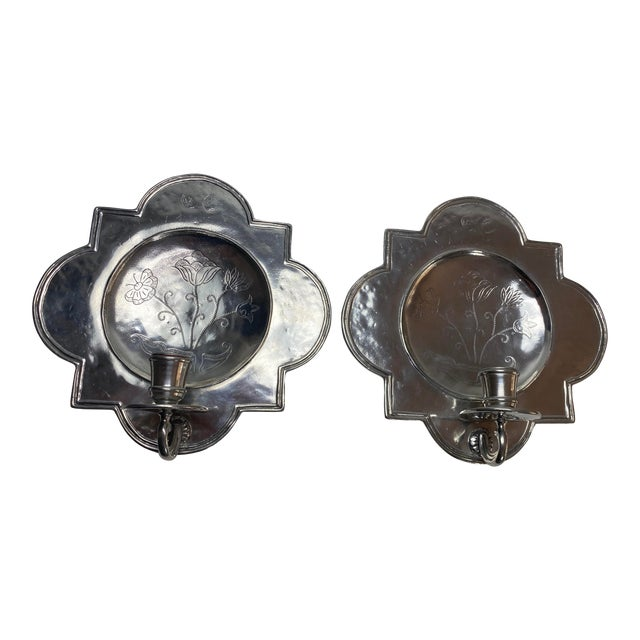 Pierre Deux Pewter Wall Candle Sconces - a Pair For Sale