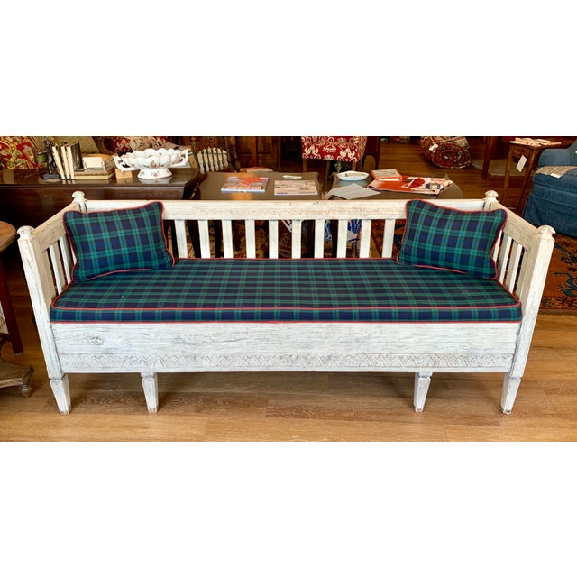 Scandinavian Tartan Cushion and Aqua Slipcover for Summer Bench For Sale In Kansas City - Image 6 of 11