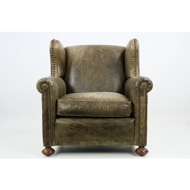 Regency Style Green Leather Club Chair and Ottoman - Image 4 of 11