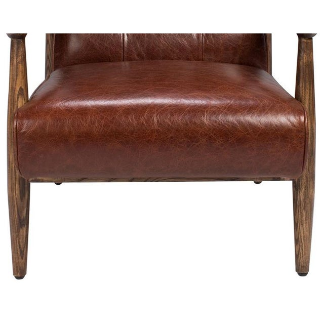 Brown Tufted Leather Club Chair - Image 3 of 4