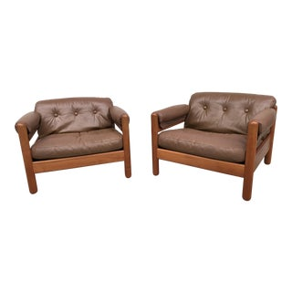 Pair of Makael Laursen Teak & Leather Danish Modern Lounge Chairs