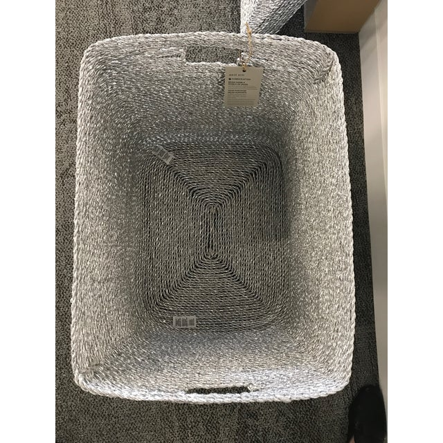 Silver Gray Woven Oversize Basket - Image 3 of 6