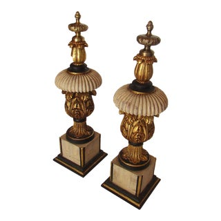 Hollywood Regency Ornate Mantle Sculpture Statues - a Pair For Sale