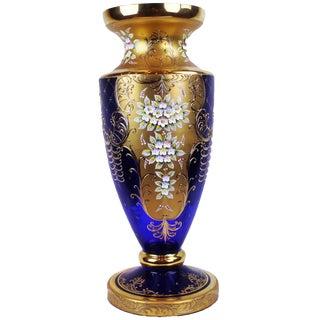 Pasargad N Y Antique Cobalt Blue Cased Art Glass Vase With Enameled Flowers For Sale