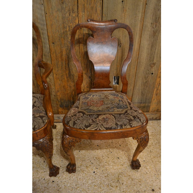 English Traditional Set of 10 Antique English Queen Anne Burl Walnut Dining Chairs circa 1880 For Sale - Image 3 of 7